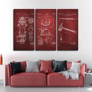 Firefighter Patent Compilation Red Multi Panel Canvas Wall Art - Firefighters