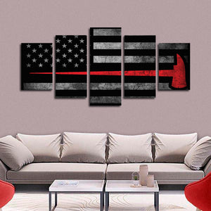 Firefighter Axe Flag Multi Panel Canvas Wall Art - Firefighters