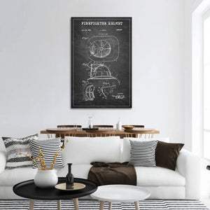 Firefighter Helmet Patent BW Canvas Wall Art - Firefighters