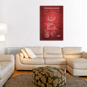 Firefighter Helmet Patent Canvas Wall Art - Firefighters