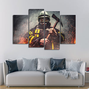 Firefighter Mask Multi Panel Canvas Wall Art - Firefighters