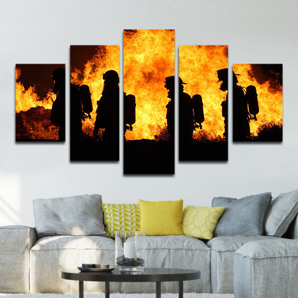 Attrayant Firefighters In Action Multi Panel Canvas Wall Art