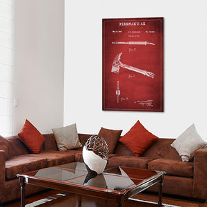 Fireman Ax Patent Canvas Wall Art - Firefighters