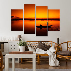 Fishermen in Vietnam Multi Panel Canvas Wall Art - Boat