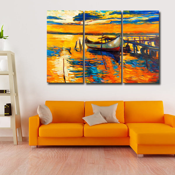 Fishing Boat At Sunset Multi Panel Canvas Wall Art