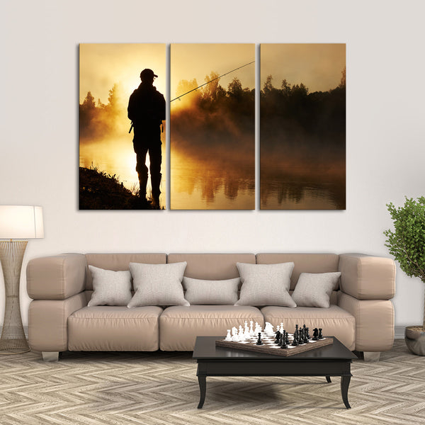 Fishing At The River Bank Multi Panel Canvas Wall Art