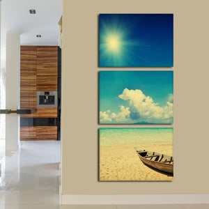 Fishing Boat On Sunny Beach Multi Panel Canvas Wall Art - Beach