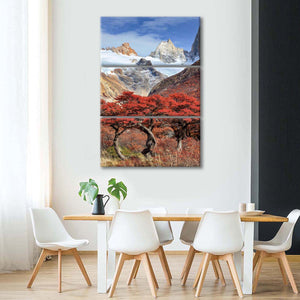 Fitz Roy Red Tree Multi Panel Canvas Wall Art - Nature