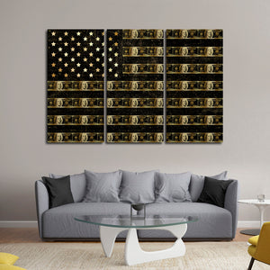Flag Of Benjamins Multi Panel Canvas Wall Art - Flag
