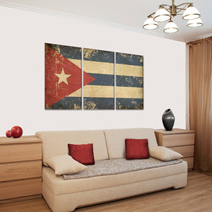 Flag of Cuba Multi Panel Canvas Wall Art - Latin