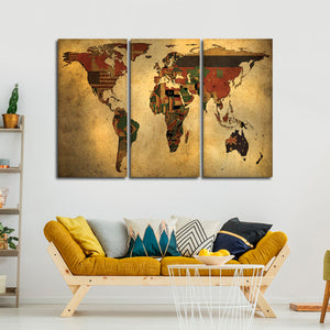 Flags Of The World Map Multi Panel Canvas Wall Art - World_map