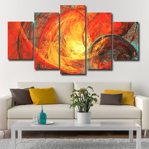 Flaming Sun Multi Panel Canvas Wall Art - Abstract
