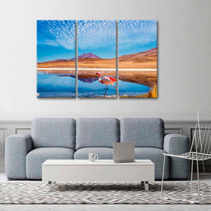 Flamingo In The Desert Multi Panel Canvas Wall Art - Nature