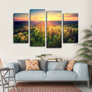 Float To The Forest Multi Panel Canvas Wall Art - Nature