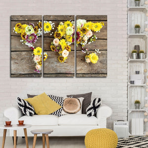 Floral World Multi Panel Canvas Wall Art - World_map