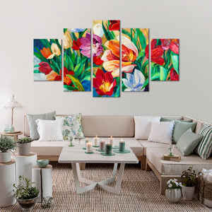 Flowers Multi Panel Canvas Wall Art - Abstract