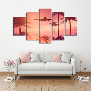 Fly Away Multi Panel Canvas Wall Art - Airplane