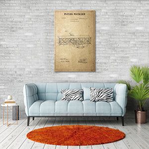 Flying Machine Patent Canvas Wall Art - Airplane