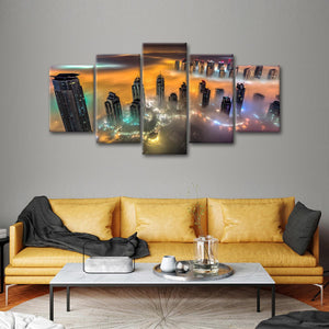 Foggy Cityscape Multi Panel Canvas Wall Art - City