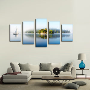Foggy Island Multi Panel Canvas Wall Art - Boat