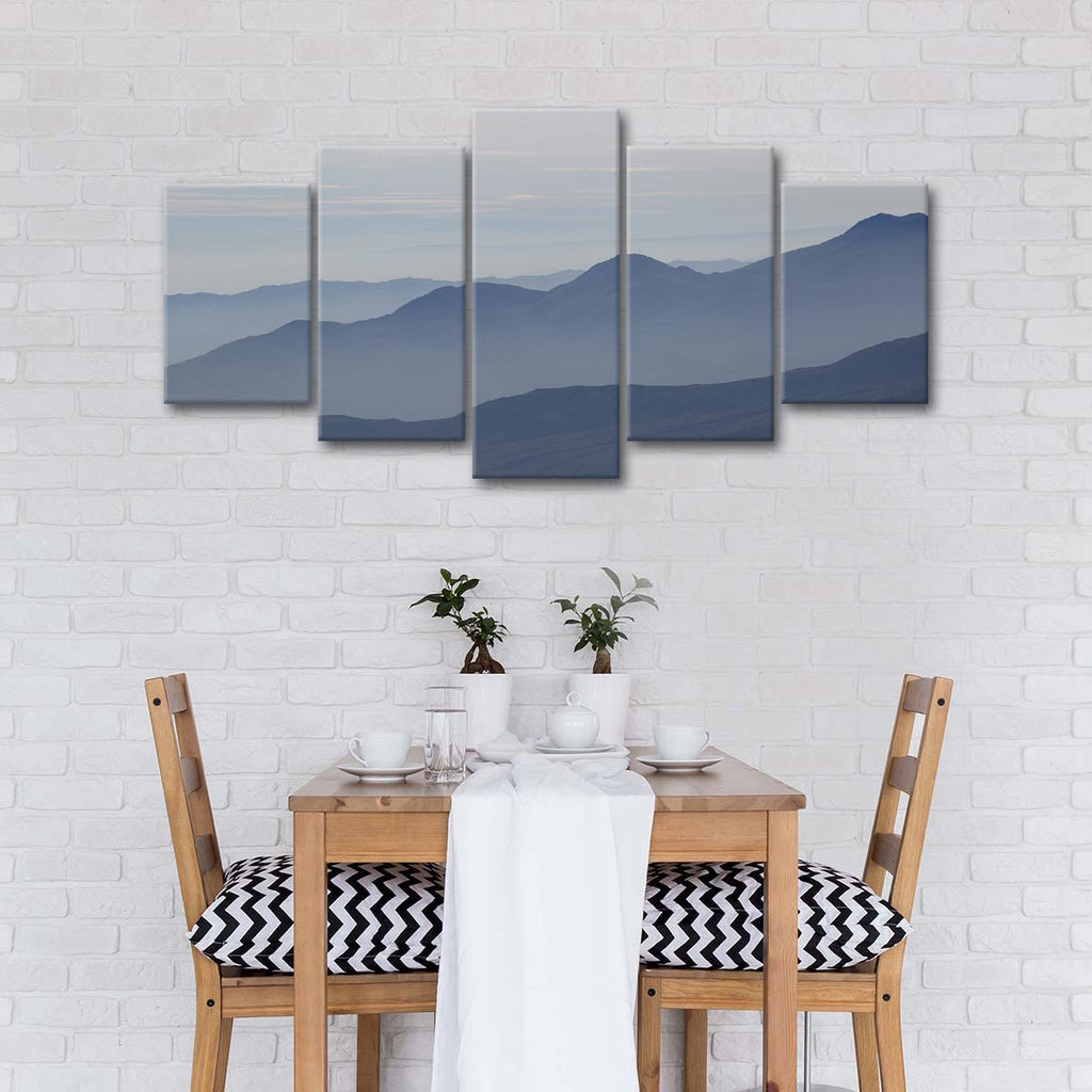Foggy Mountain Range Multi Panel Canvas Wall Art