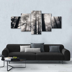 Foggy Trees In Yellow Mountain Multi Panel Canvas Wall Art - Nature