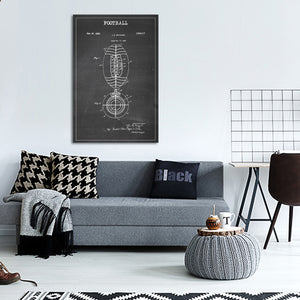Football Patent BW Canvas Wall Art - Football