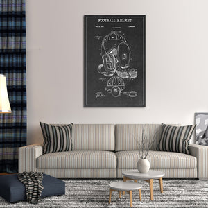 Football Helmet Patent BW Canvas Wall Art - Football