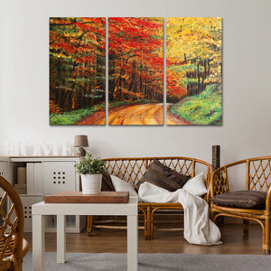 Forest Road Multi Panel Canvas Wall Art - Nature