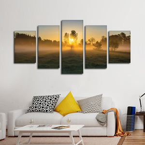 Forest At Dawn Multi Panel Canvas Wall Art - Nature