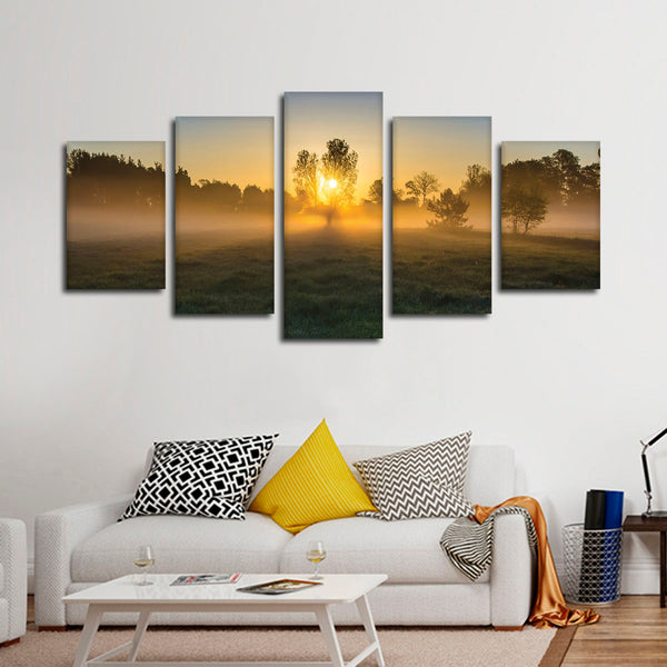 Forest At Dawn Multi Panel Canvas Wall Art