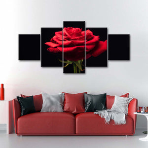 Forlorn Red Rose Multi Panel Canvas Wall Art - Rose