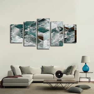 Formation Of Waves Multi Panel Canvas Wall Art - Geometric