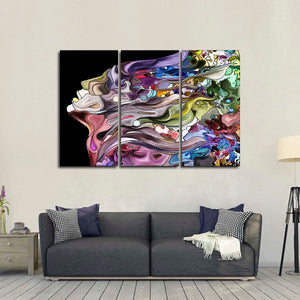 Fragmented Profile Multi Panel Canvas Wall Art - Color