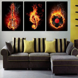 Music Fusion Canvas Set Wall Art - Guitar