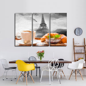 French Breakfast Multi Panel Canvas Wall Art - Coffee