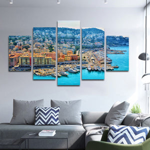 French Riviera Multi Panel Canvas Wall Art - Beach