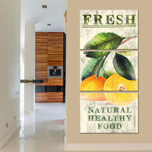 Fresh Oranges Multi Panel Canvas Wall Art - Kitchen