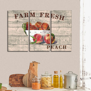 Fresh Peach Multi Panel Canvas Wall Art - Kitchen