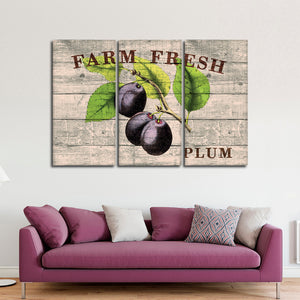 Fresh Plums Multi Panel Canvas Wall Art - Kitchen