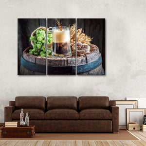 Freshly Brewed Beer Multi Panel Canvas Wall Art - Kitchen