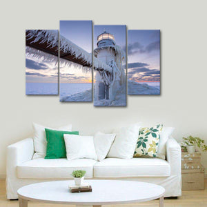Frosty Lighthouse Multi Panel Canvas Wall Art - Lighthouse