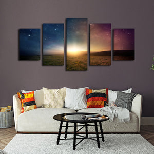 Galactic Sunrise Multi Panel Canvas Wall Art - Astronomy