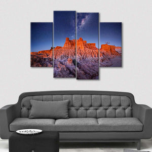 Galaxy Over Desert Multi Panel Canvas Wall Art - Nature