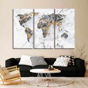Geo Marble World Multi Panel Canvas Wall Art - World_map