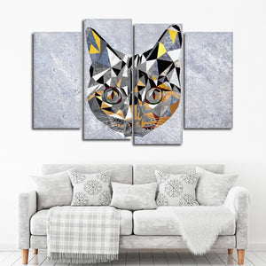 Geometric Cat Multi Panel Canvas Wall Art - Geometric