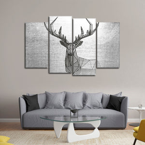 Geometric Deer Multi Panel Canvas Wall Art - Deer