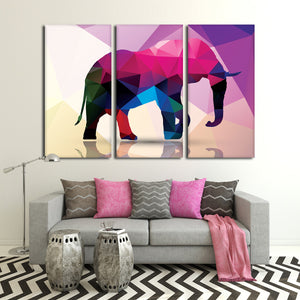 Geometric Elephant Multi Panel Canvas Wall Art - Color