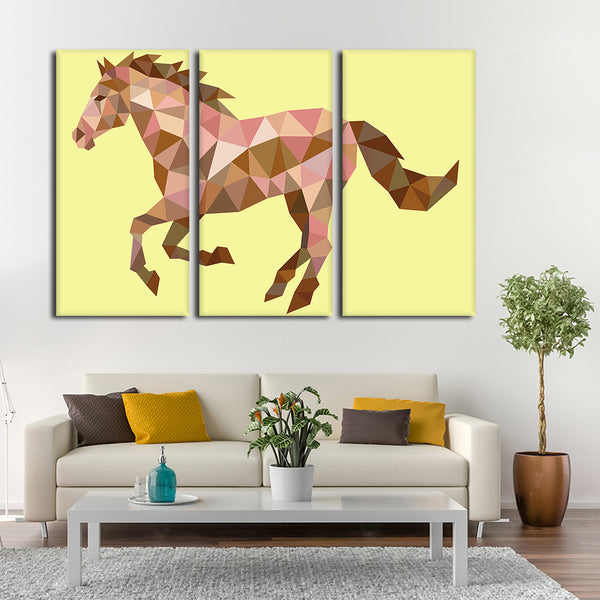 Geometric Horse Multi Panel Canvas Wall Art | ElephantStock