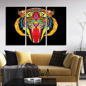 Geometric Tiger Multi Panel Canvas Wall Art - Tiger